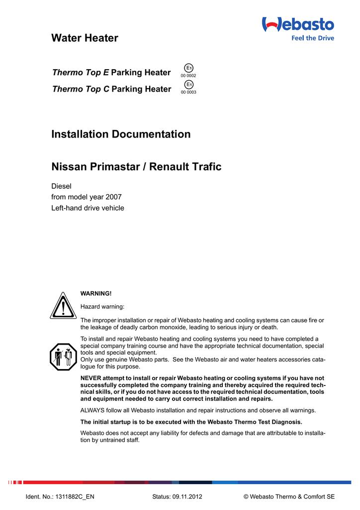 water heater installation documentation nissan primastar nissan nv200 wiring diagram renault trafic ii, vauxhall opel vivaro