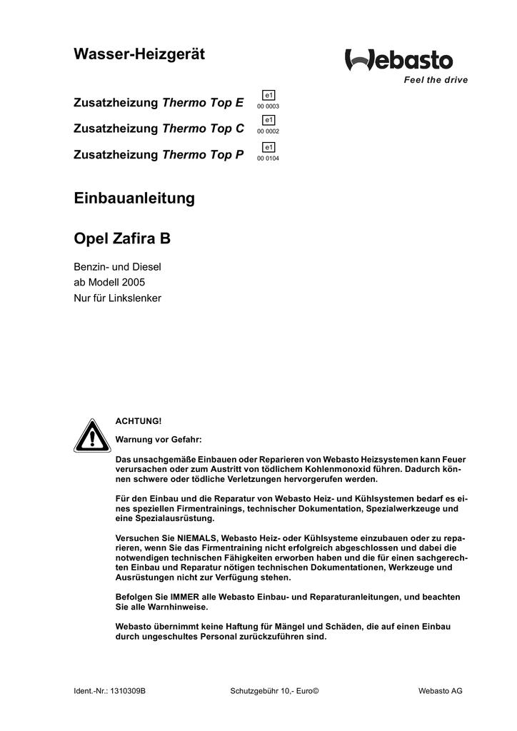 Wasser-Heizgerät Einbauanleitung Opel Zafira B Thermo Top E
