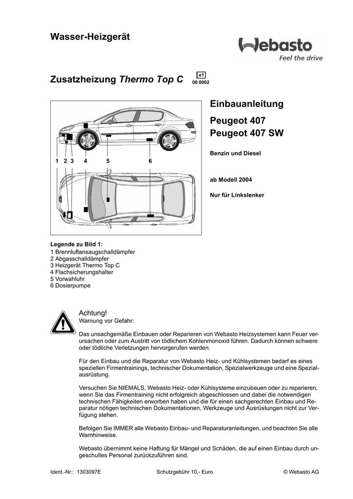 Wasser-Heizgerät Thermo Top C Einbauanleitung Peugeot 407   manualzz.com