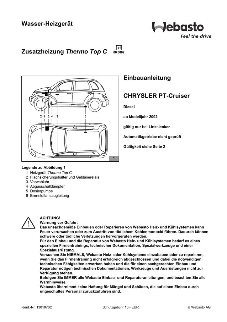 Wasser-Heizgerät Thermo Top C Einbauanleitung CHRYSLER PT-Cruiser ...
