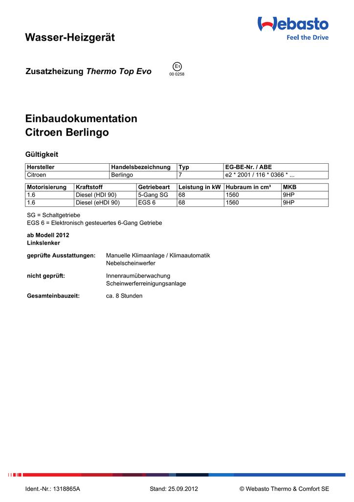 Wasser-Heizgerät Einbaudokumentation Citroen Berlingo Thermo Top Evo ...