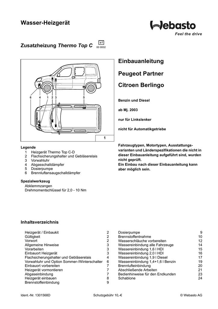 Wasser-Heizgerät Einbauanleitung Peugeot Partner Citroen Berlingo ...