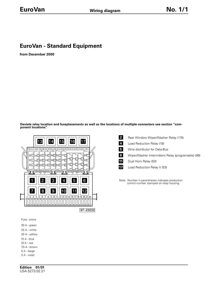 [SCHEMATICS_43NM]  EuroVan No. 1/1 EuroVan - Standard Equipment Wiring diagram | Manualzz | 2002 Vw Eurovan Wiring Diagram |  | manualzz