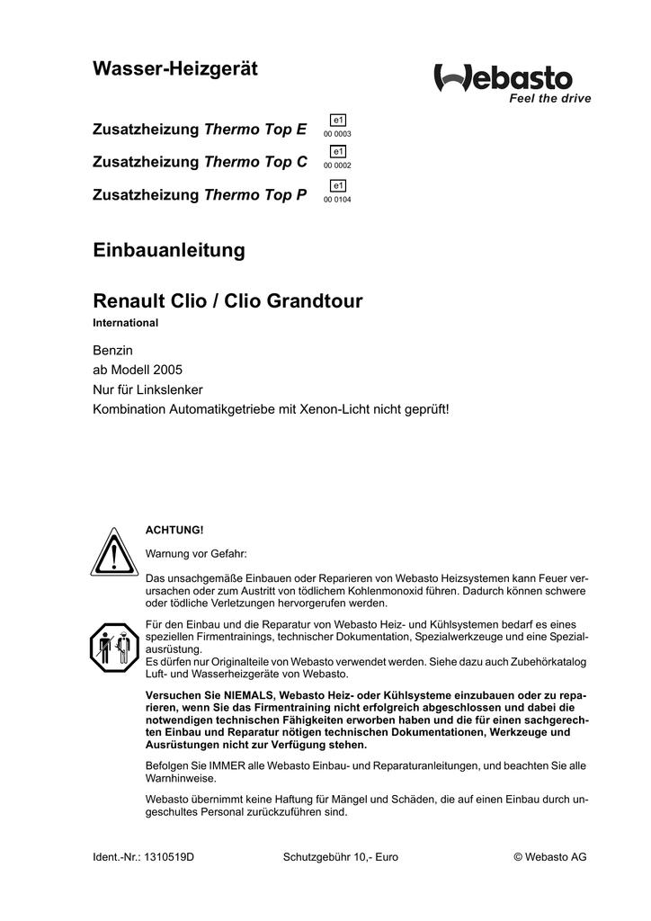 Wasser-Heizgerät Einbauanleitung Renault Clio / Clio Grandtour ...