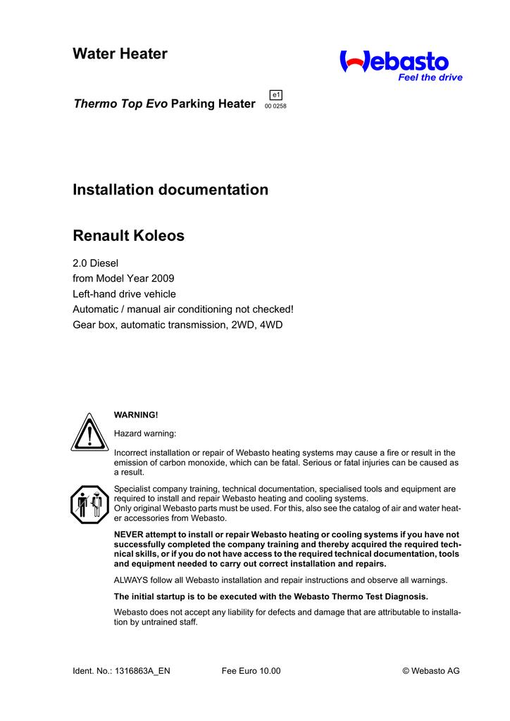 water heater installation documentation renault koleos thermo top evo