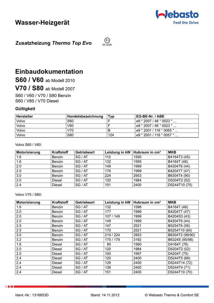 Wasser-Heizgerät Einbaudokumentation S60 / V60 V70 / S80 | manualzz.com