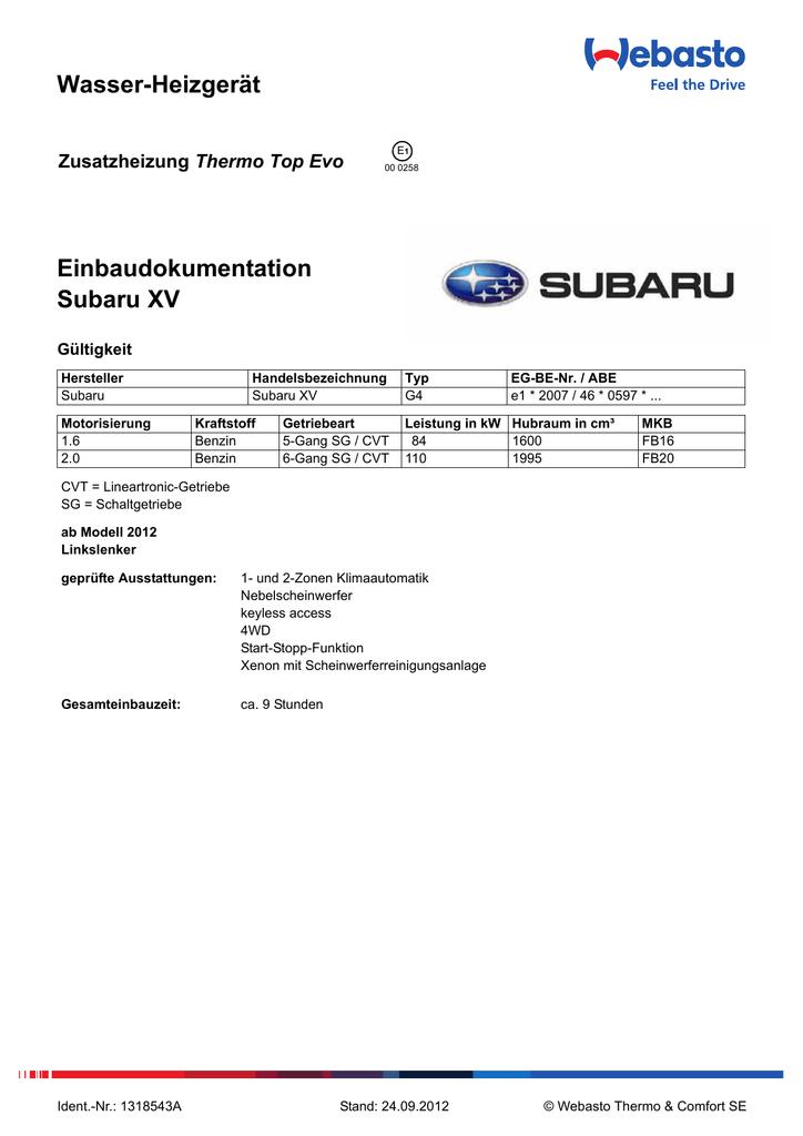 Wasser-Heizgerät Einbaudokumentation Subaru XV Thermo Top Evo ...