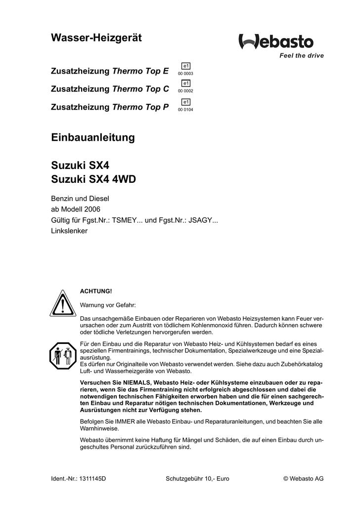 Wasser-Heizgerät Einbauanleitung Suzuki SX4 Suzuki SX4 4WD ...