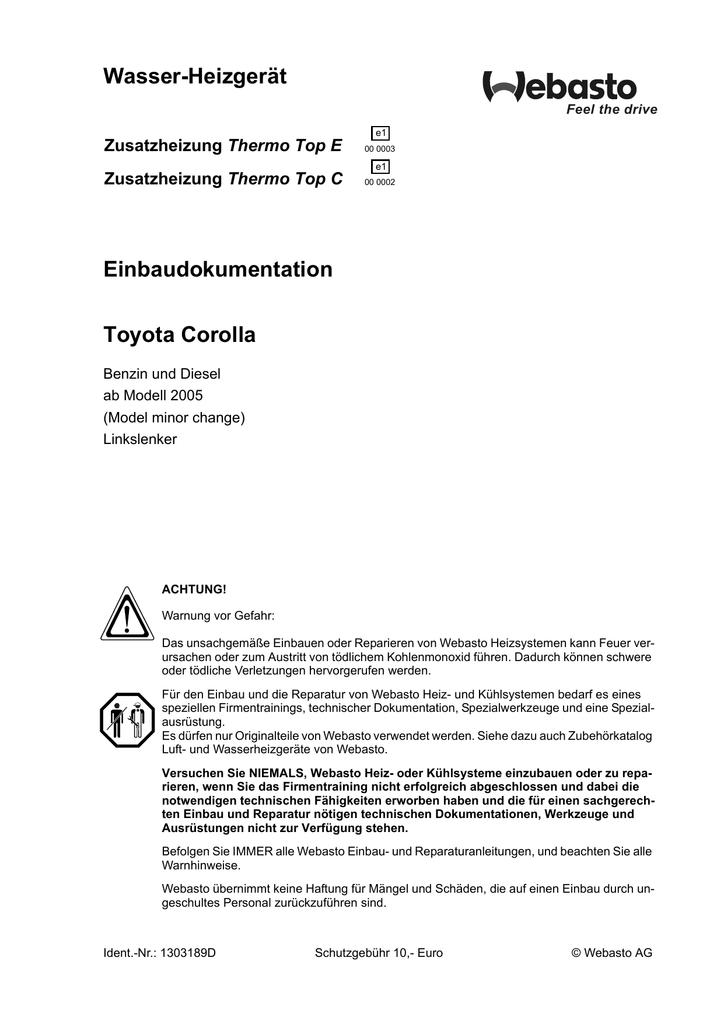 Wasser-Heizgerät Einbaudokumentation Toyota Corolla Thermo Top E ...