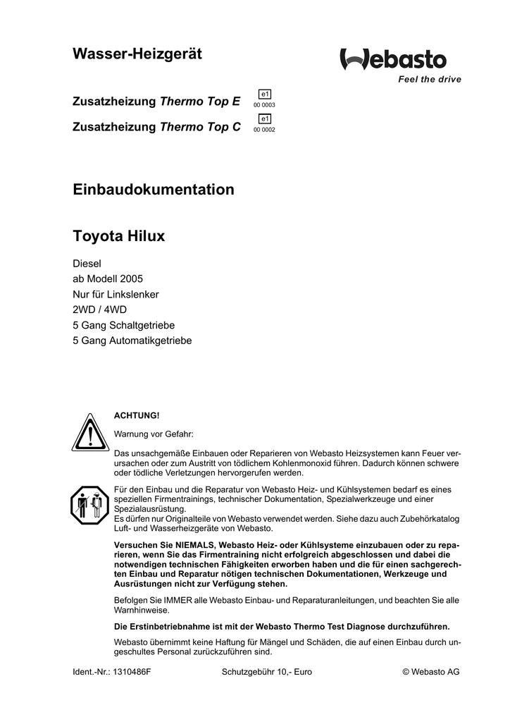 Wasser-Heizgerät Einbaudokumentation Toyota Hilux Thermo Top E ...