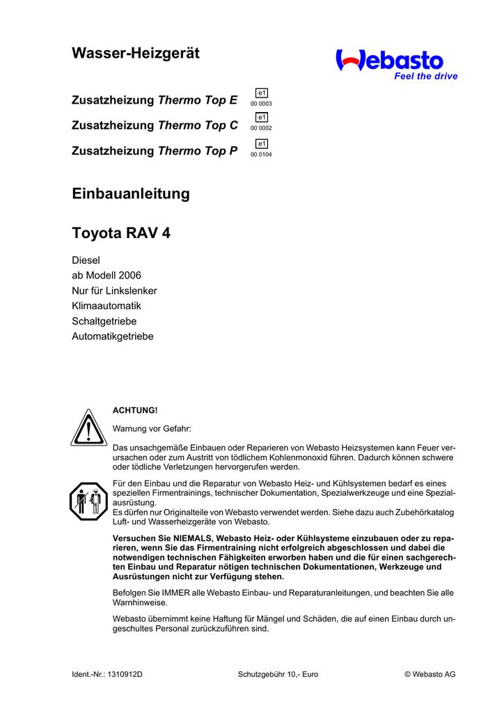 Wasser-Heizgerät Einbauanleitung Toyota RAV 4 Thermo Top E