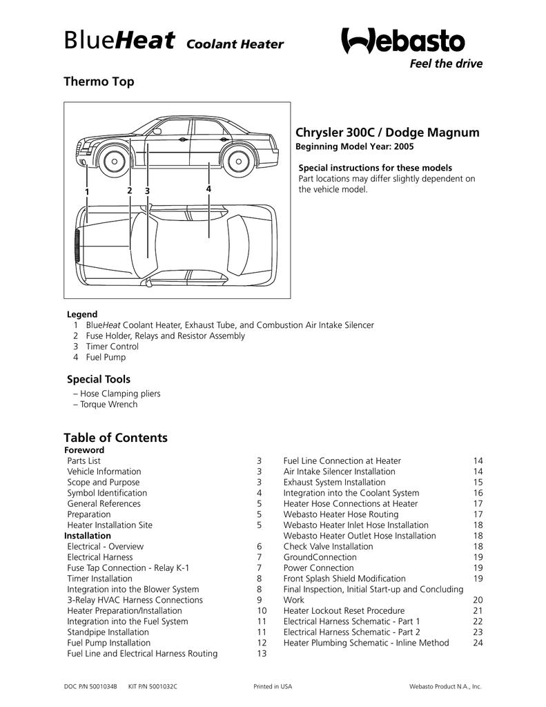 Heat Coolant Heater Thermo Top Chrysler 300C / Dodge Magnum | manualzz.com