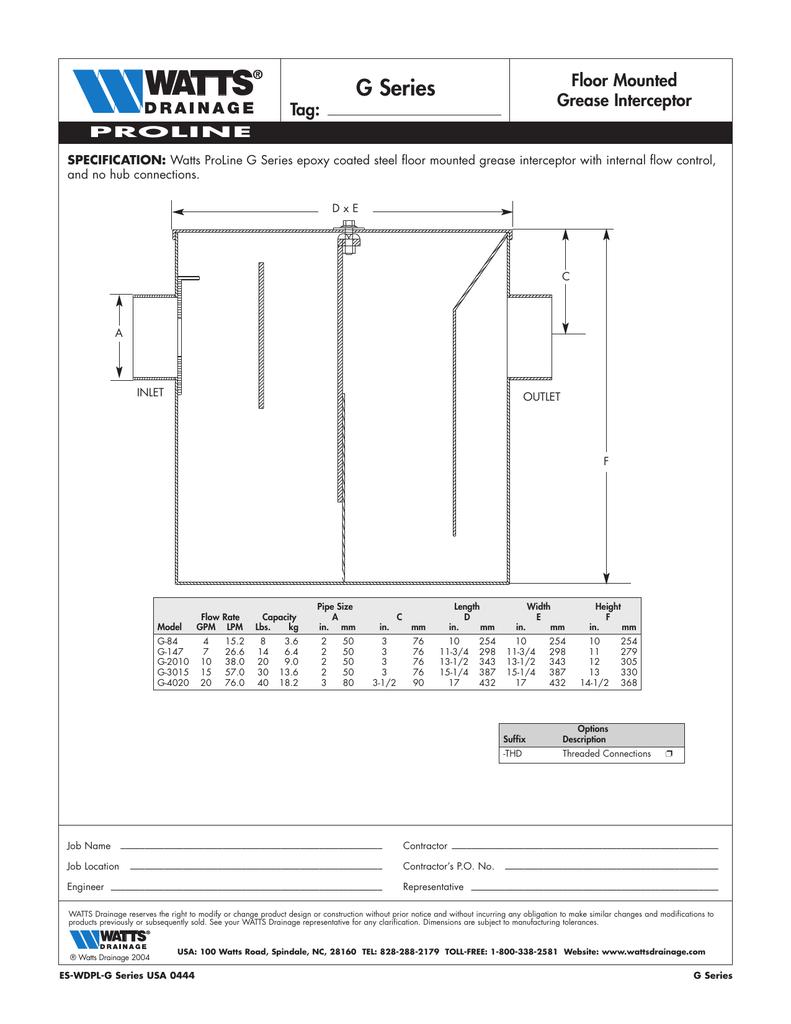 G Series Floor Mounted Grease Interceptor Tag Manualzz Com