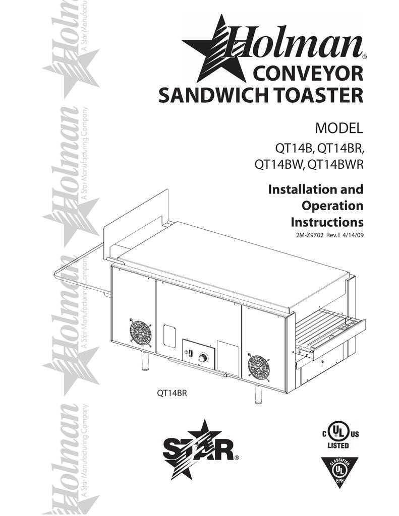 Holman Toaster Wiring Diagram Circuit Schematic Coffee Maker Conveyor Sandwich Model Qt14b Qt14br Manualzz Com