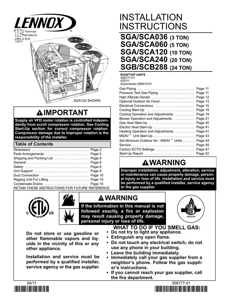 installation instructions sga sca036 sga sca060 manualzz com rh manualzz com