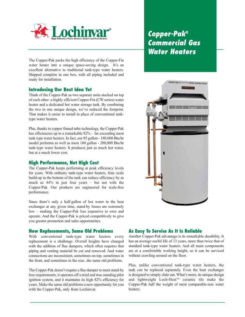 Copper-Pak Commercial Gas Water Heaters | manualzz com