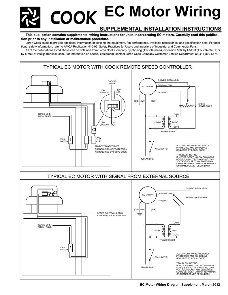 EC Motor Wiring SUPPLEMENTAL INSTALLATION INSTRUCTIONS | Manualzzmanualzz