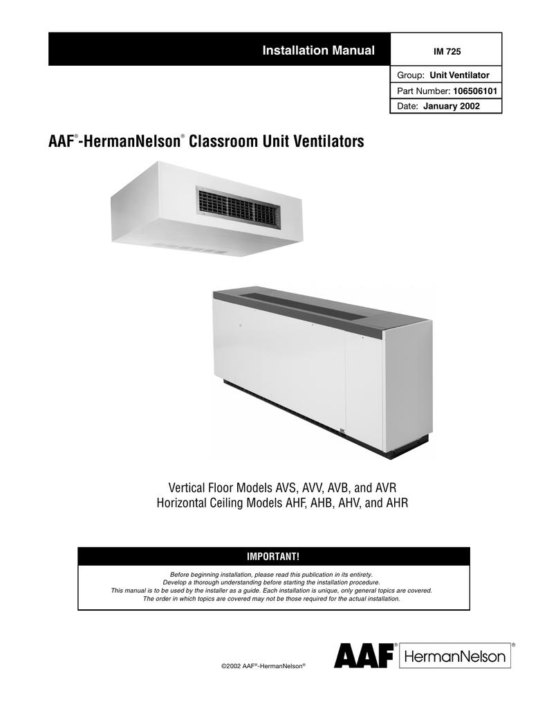 Aaf hermannelson classroom unit ventilators installation manual cheapraybanclubmaster Images