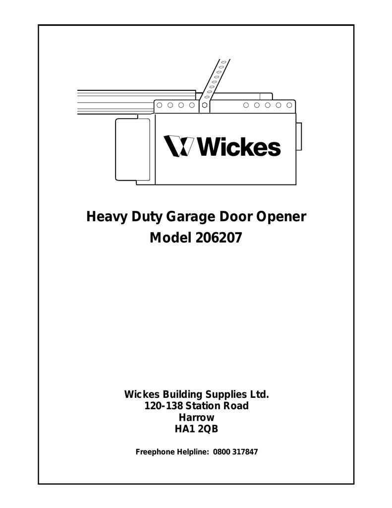 Heavy Duty Garage Door Opener Model 206207 Wickes Building Supplies Reinforcement Bracket On Motor Diagram Ltd