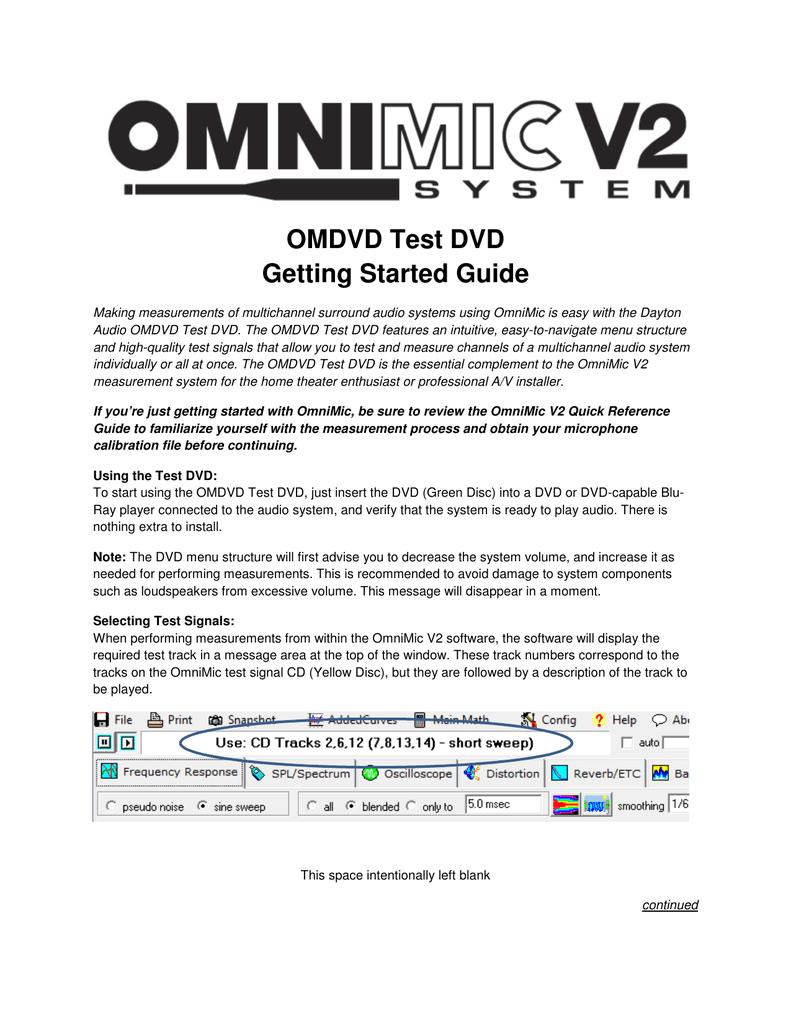 OMDVD Test DVD Getting Started Guide | manualzz com