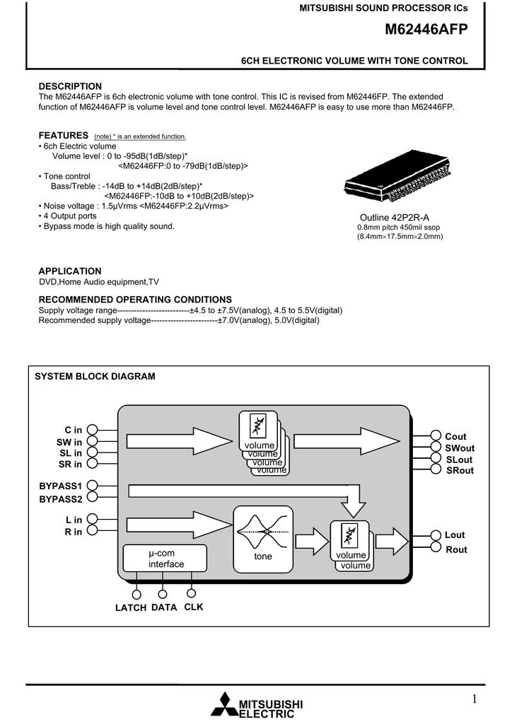 M62446AFP MITSUBISHI SOUND PROCESSOR ICs 6CH ELECTRONIC