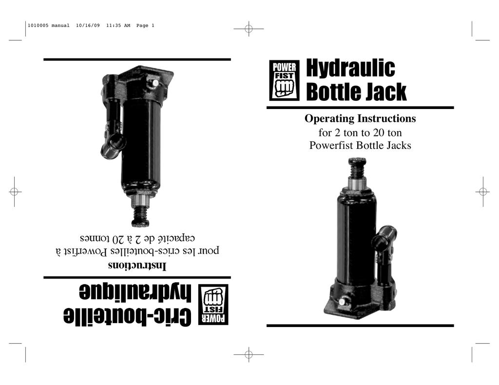 Hydraulic Bottle Jack Manual Guide