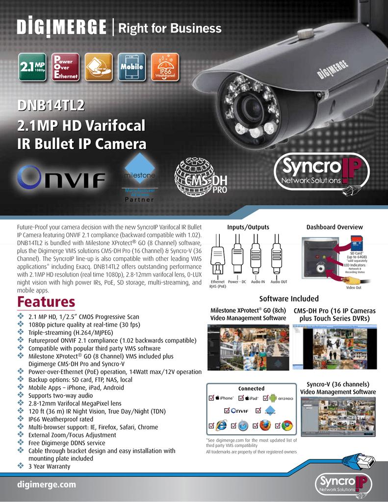 DNB14TL2 2 1MP HD Varifocal IR Bullet IP Camera | manualzz com