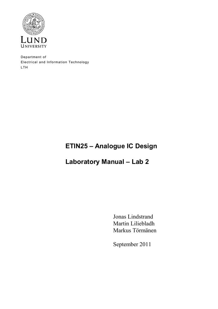 ETIN25 – Analogue IC Design Laboratory Manual – Lab 2 Jonas