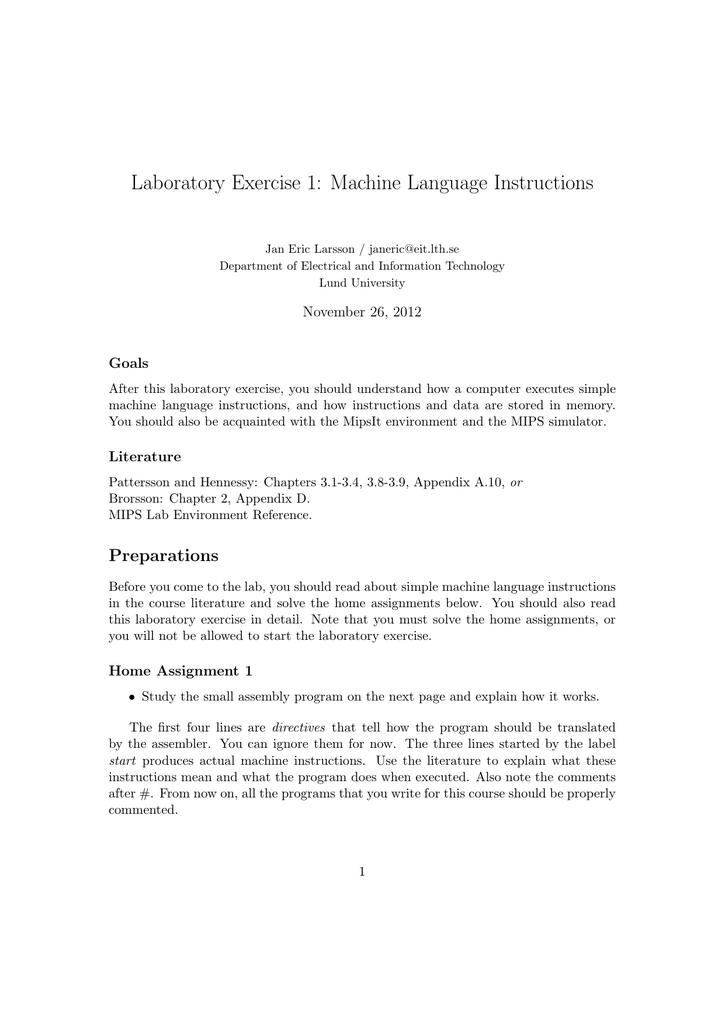 Laboratory Exercise 1 Machine Language Instructions Manualzz