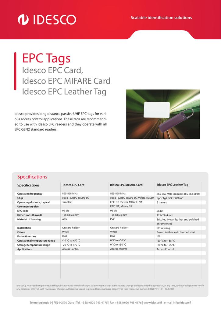 EPC Tags Idesco EPC Card, Idesco EPC MIFARE Card Idesco EPC