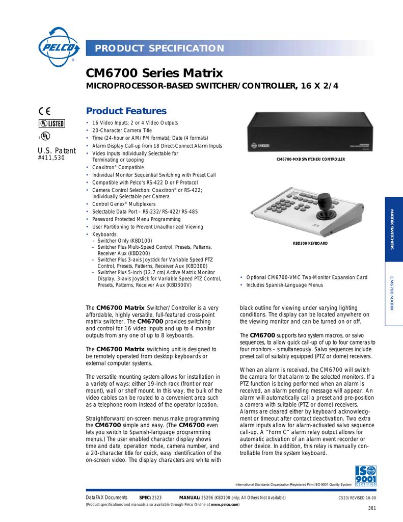 cm6700 series matrix product features product specification rh manualzz com