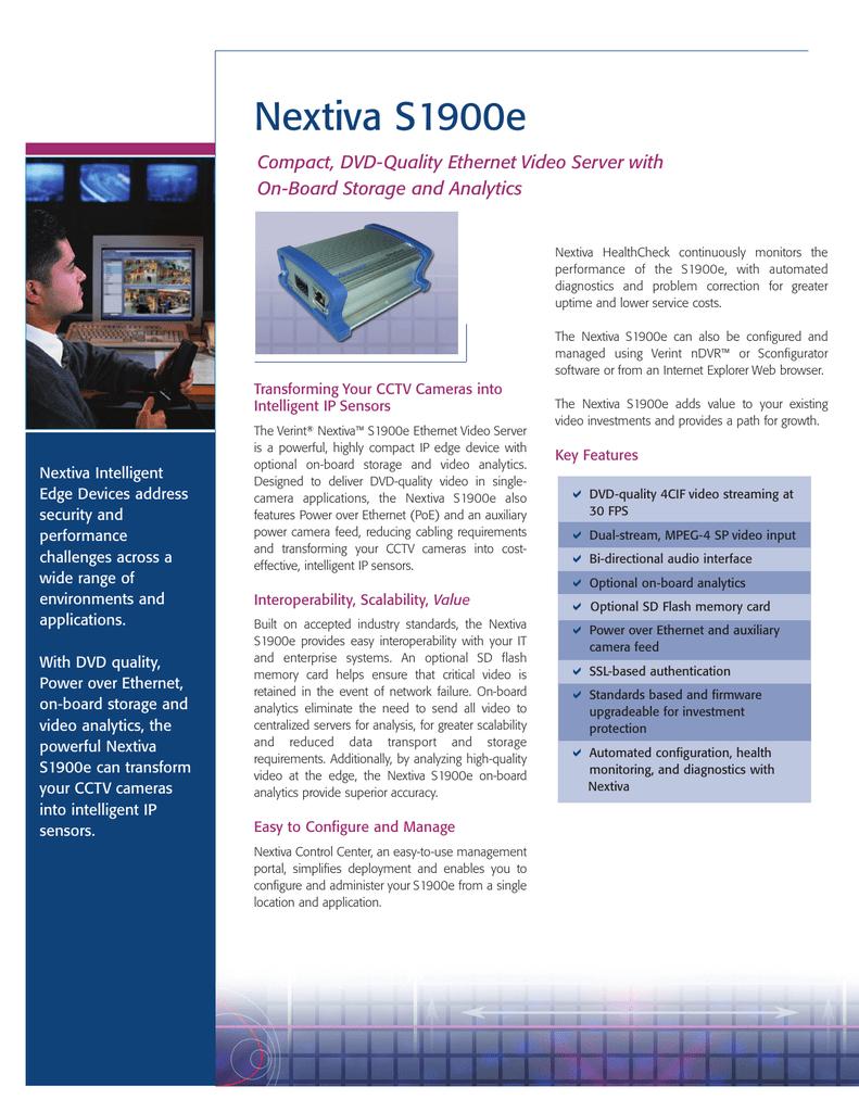Nextiva S1900e Compact, DVD-Quality Ethernet Video Server