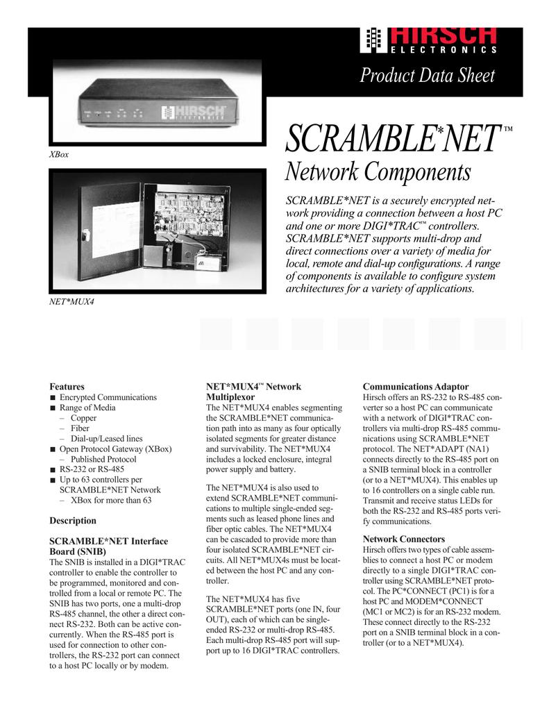 Scramble Net Network Components Product Data Sheet Rs485 Multidrop Wiring