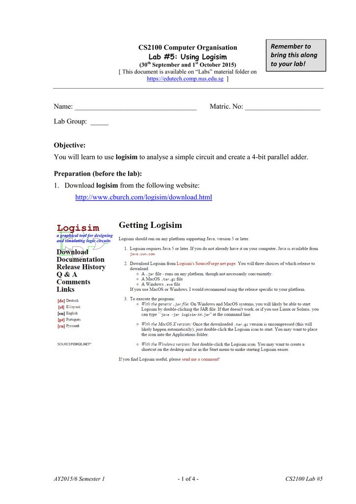 CS2100 Computer Organisation Lab #5: Using Logisim Objective