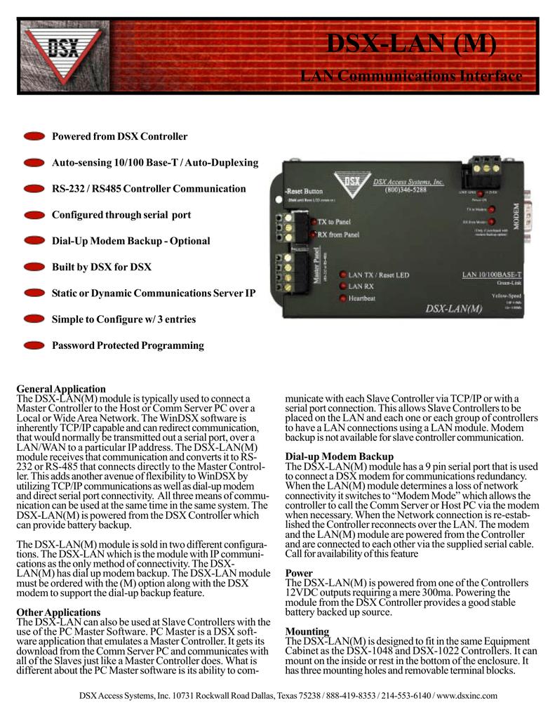 DSX-LAN (M) LAN Communications Interface | Manualzz | Dsx 1048 Wiring Diagram |  | Manualzz