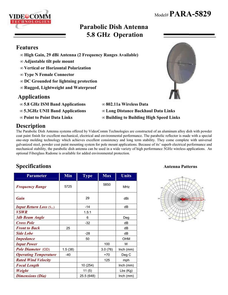 PARA-5829 Parabolic Dish Antenna 5 8 GHz Operation