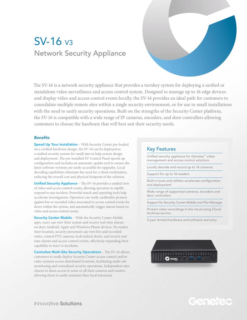 SV-16 Network Security Appliance V3 | manualzz com