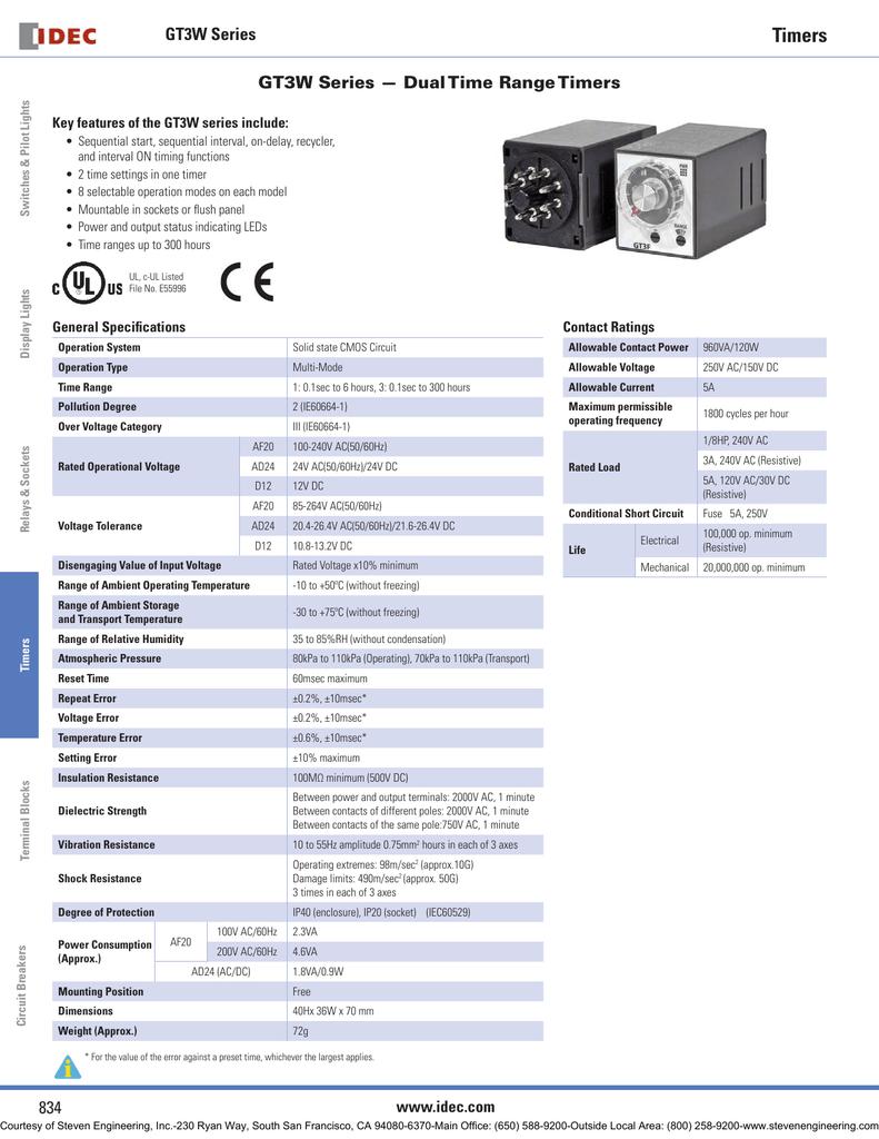 Timers GT40W Series GT40W Series — Dual Time Range Timers   Manualzz