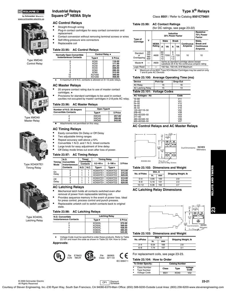 Industrial Relays Type X Relays Square D | Manualzzmanualzz