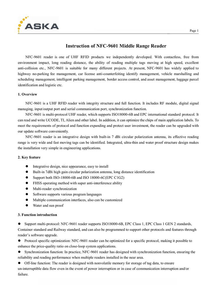 Instruction of NFC-9601 Middle Range Reader   manualzz com