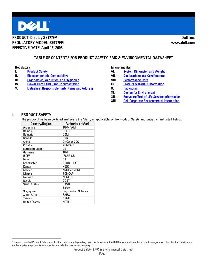 Product Display Se177fp Dell Inc Regulatory Model Se177fpf Www