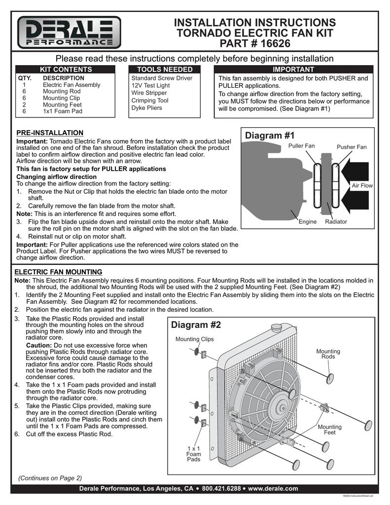[DIAGRAM_38YU]  INSTALLATION INSTRUCTIONS TORNADO ELECTRIC FAN KIT PART # 16626 | Manualzz | Derale Oil Cooler Wiring Diagram |  | manualzz