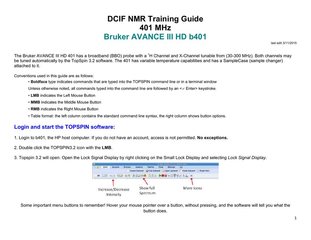 DCIF NMR Training Guide 401 MHz Bruker AVANCE III HD b401