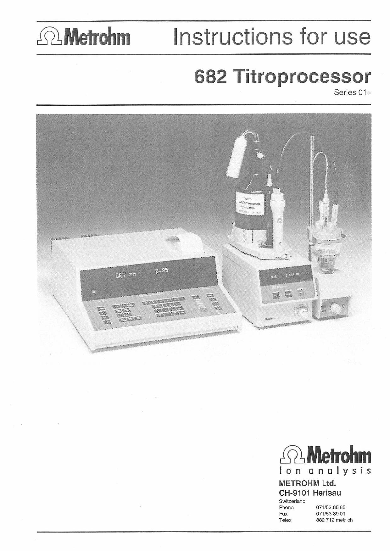 Metrohm 682 titroprocessor manual ENG.pdf | Manualzz