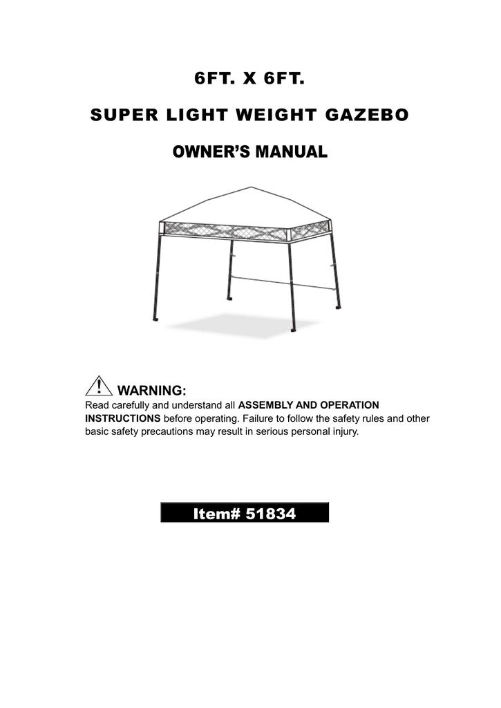 6ft X 6ft Super Light Weight Gazebo Owners Manual Manualzz