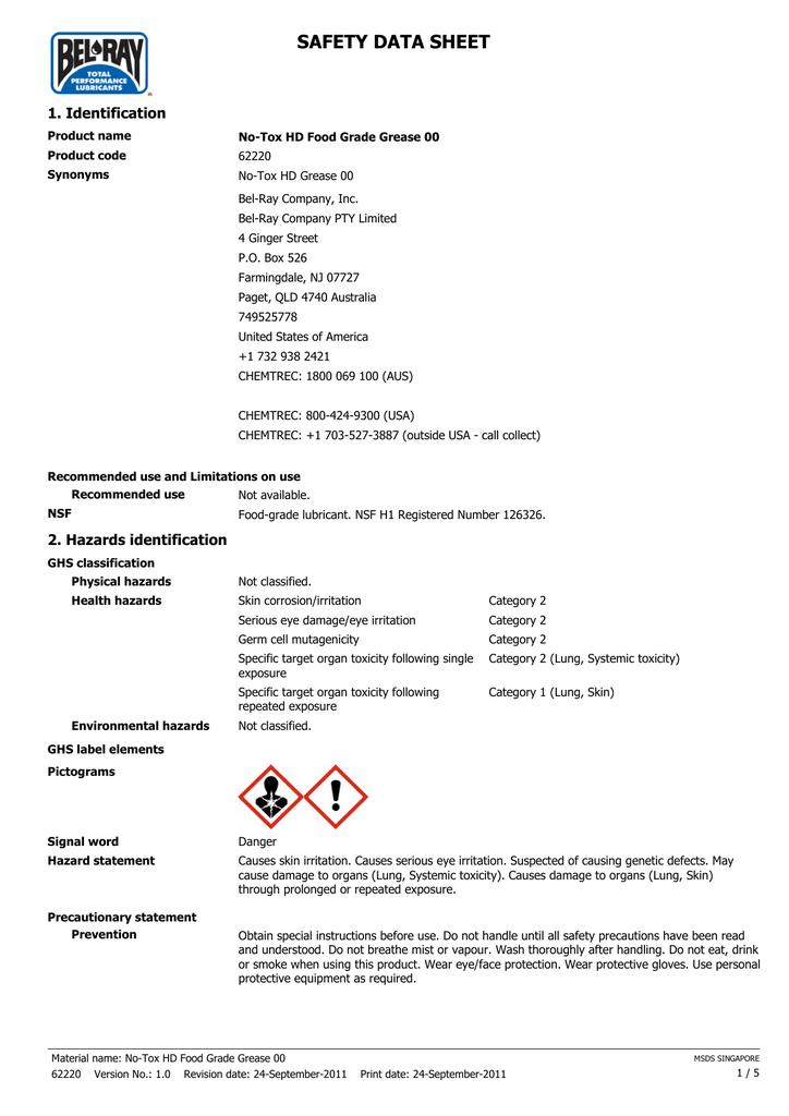SAFETY DATA SHEET 1  Identification | manualzz com