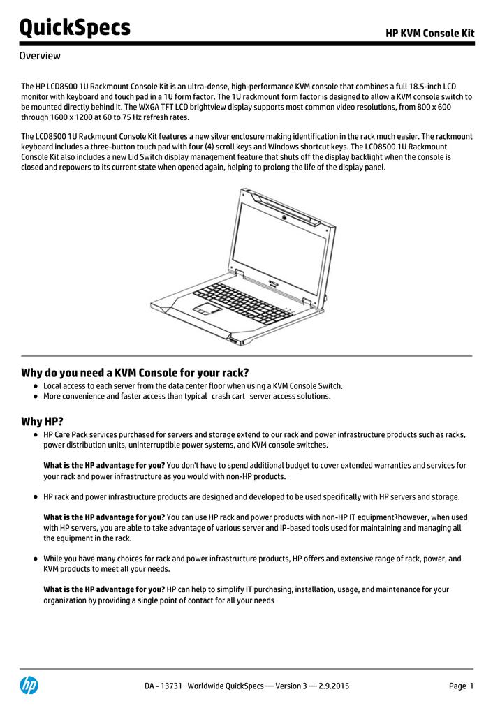 QuickSpecs HP KVM Console Kit Overview | manualzz com