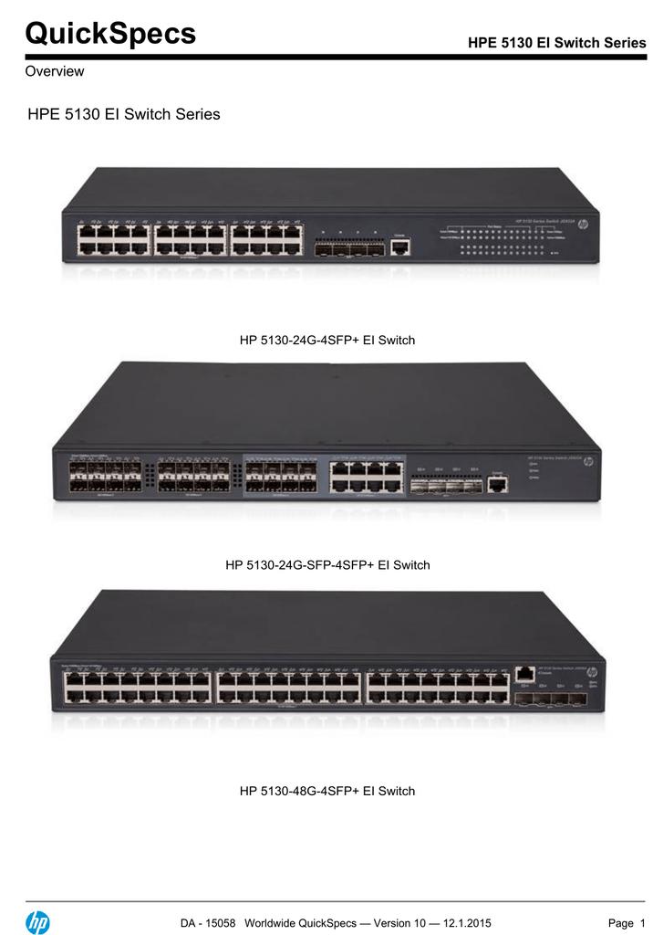 QuickSpecs HPE 5130 EI Switch Series Overview | manualzz com