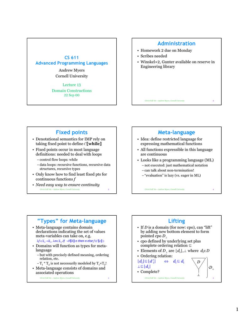 Administration CS 611 Advanced Programming Languages | manualzz com