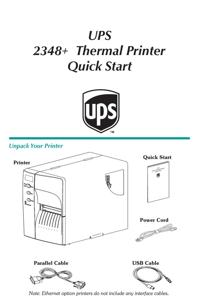 UPS 2348 Thermal Printer Quick Start   manualzz com